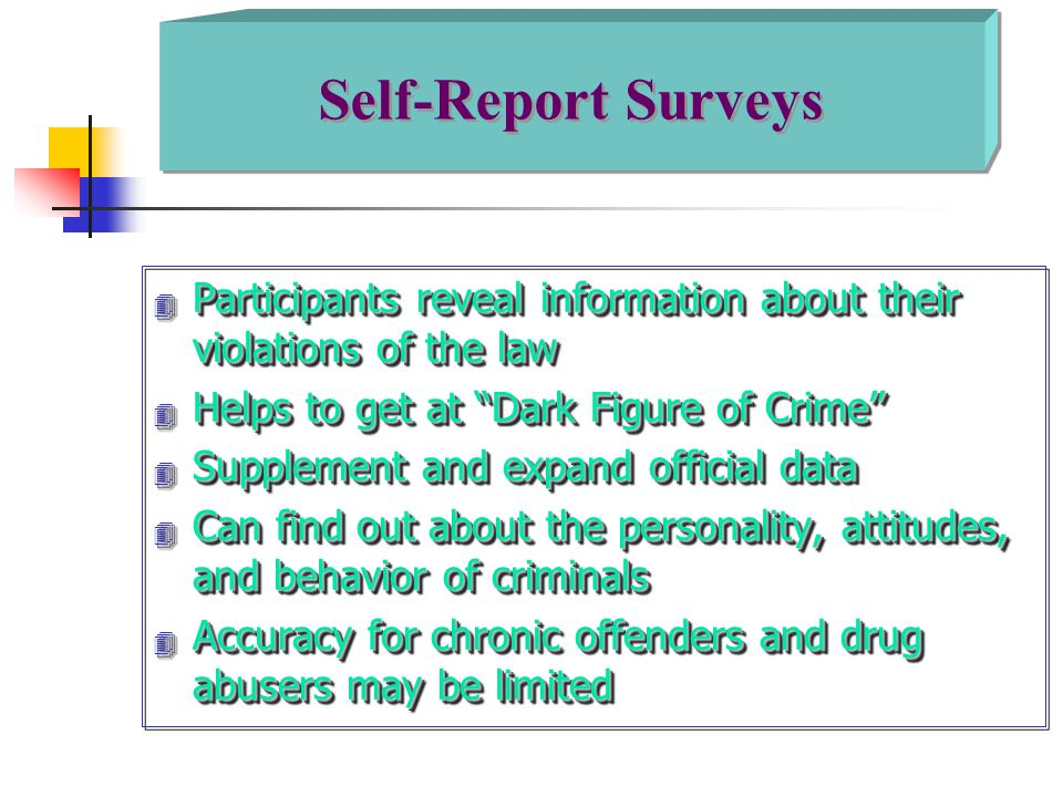 Self-Report Surveys Participants reveal information about their violations of the law. Helps to get at Dark Figure of Crime