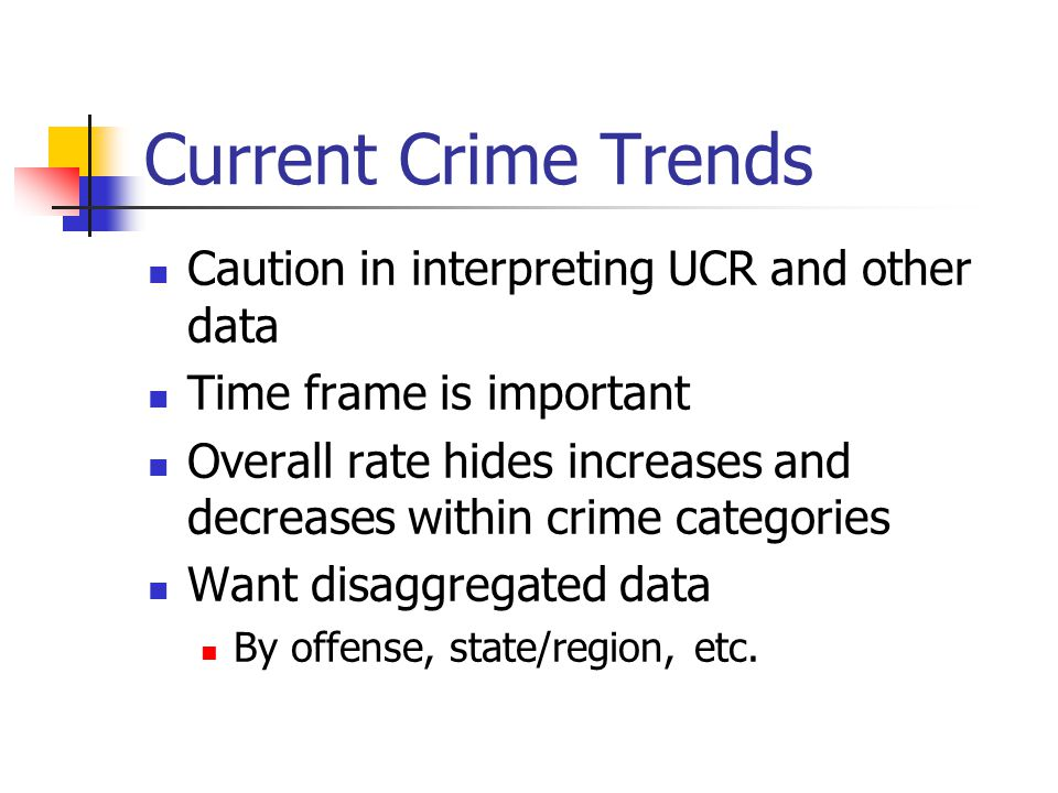 Current Crime Trends Caution in interpreting UCR and other data