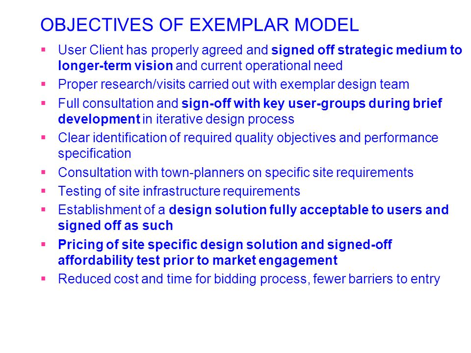OBJECTIVES OF EXEMPLAR MODEL