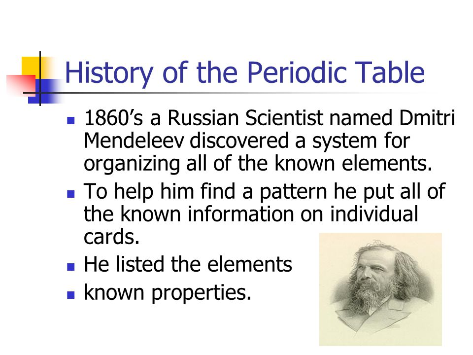Periodic table mendeleev discovery periodic table periodic table organizing the elements ppt video online download periodic table urtaz Images