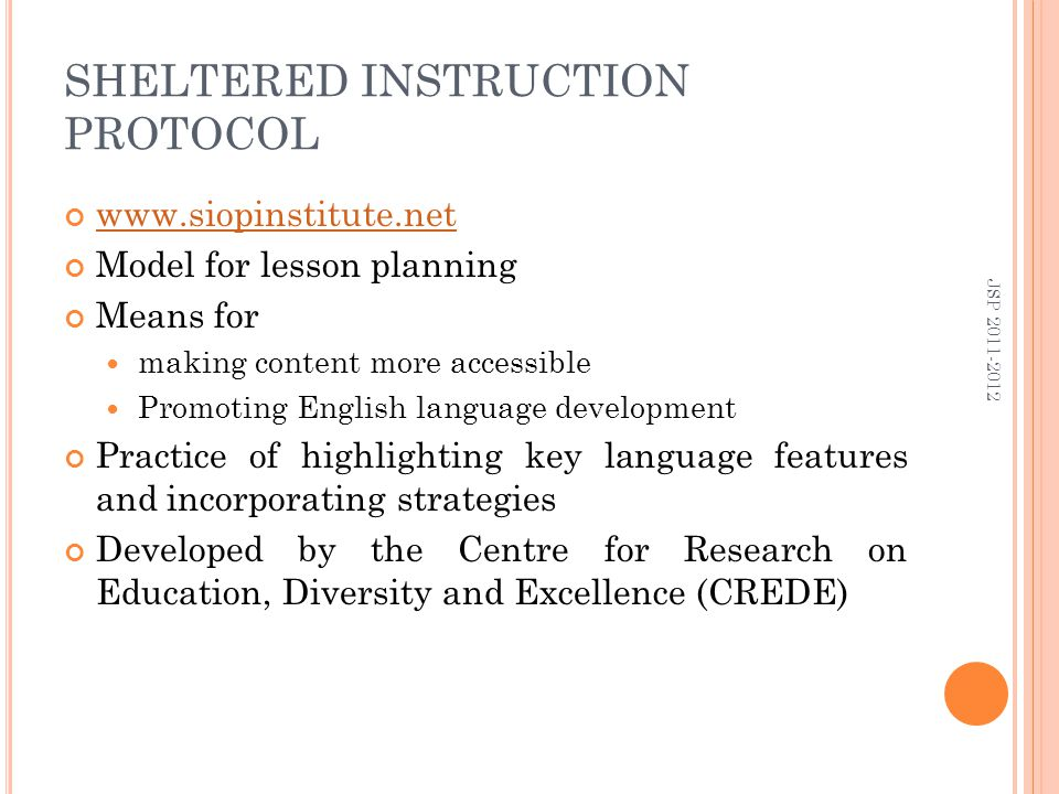 Content Based Sheltered Instruction