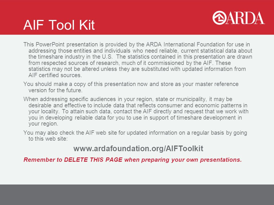 Aif Tool Kit This Powerpoint Presentation Is Provided By The Arda