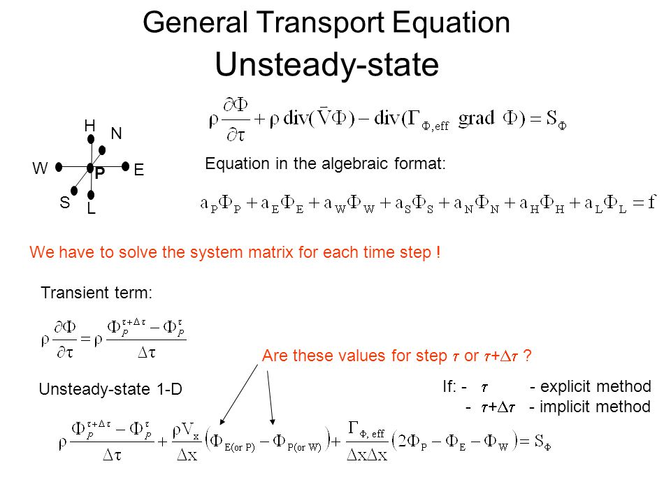 General Transport Equation Unsteady-state