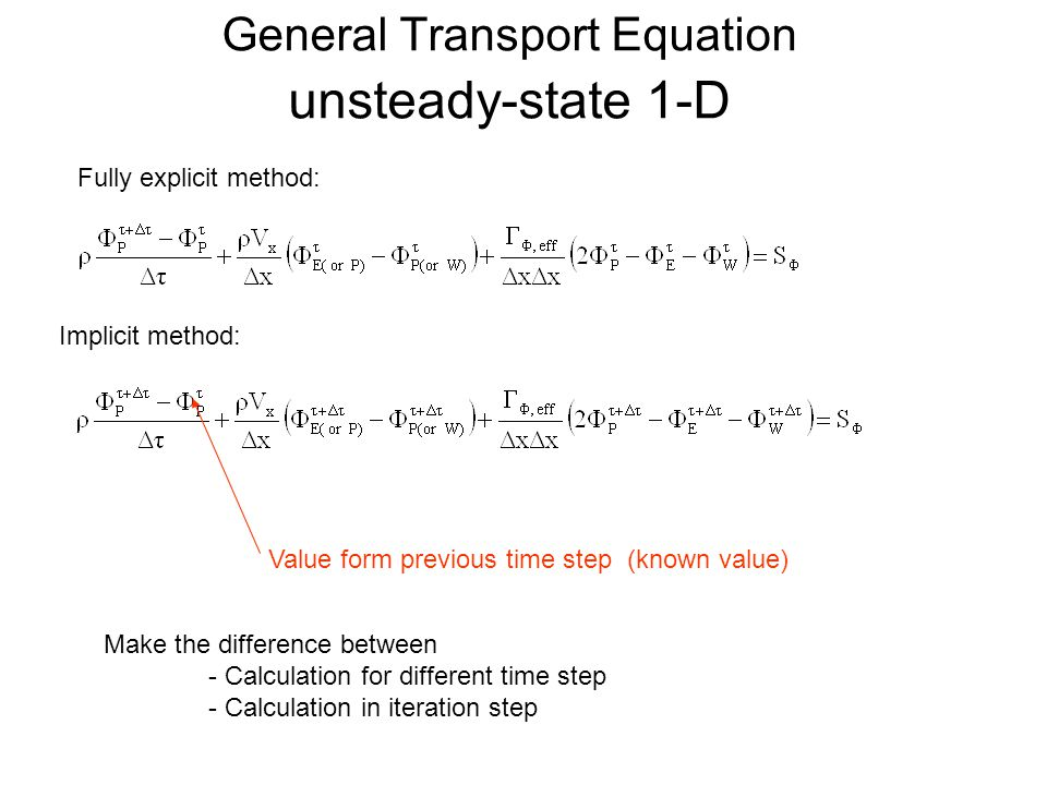 General Transport Equation unsteady-state 1-D