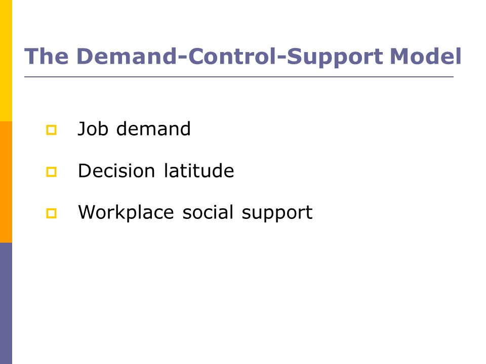 The Demand-Control-Support Model