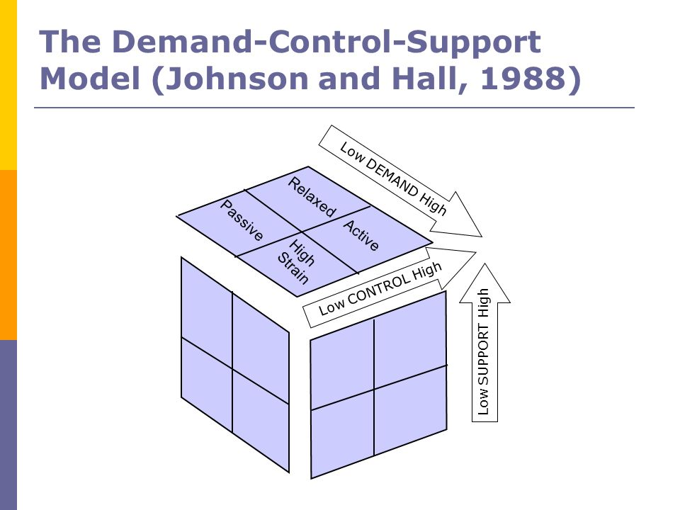 The Demand-Control-Support Model (Johnson and Hall, 1988)
