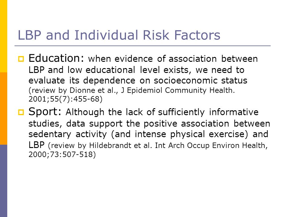 LBP and Individual Risk Factors