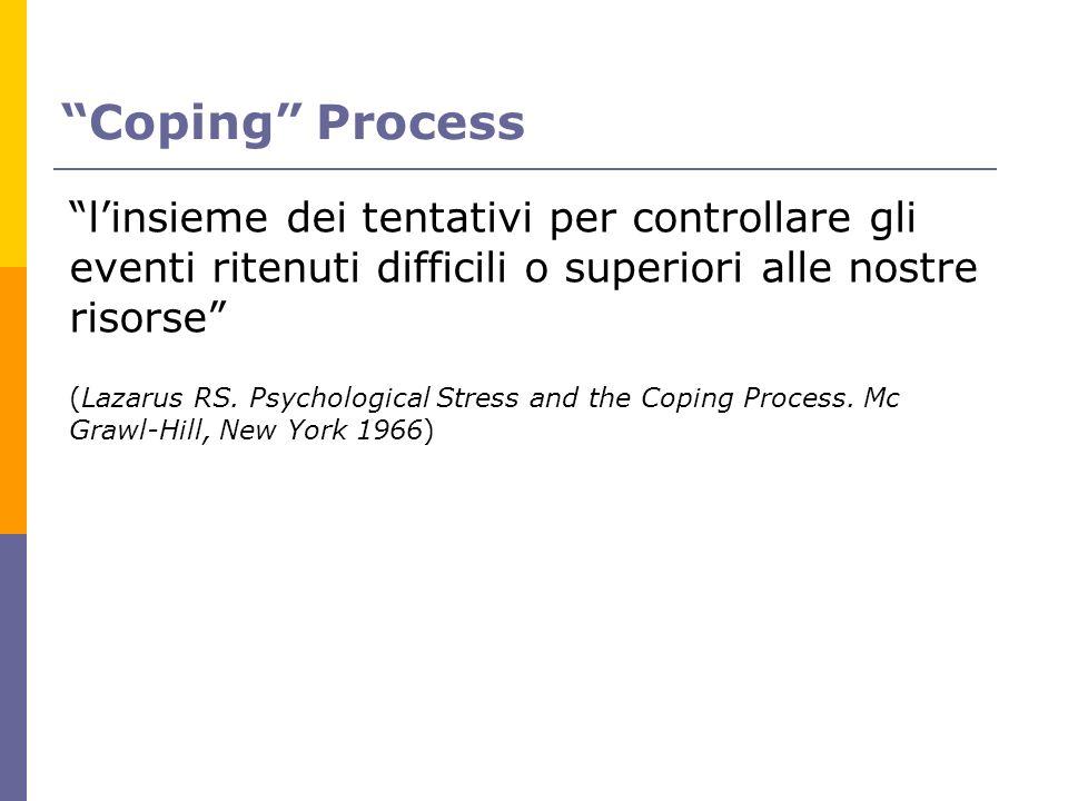 Coping Process l'insieme dei tentativi per controllare gli eventi ritenuti difficili o superiori alle nostre risorse