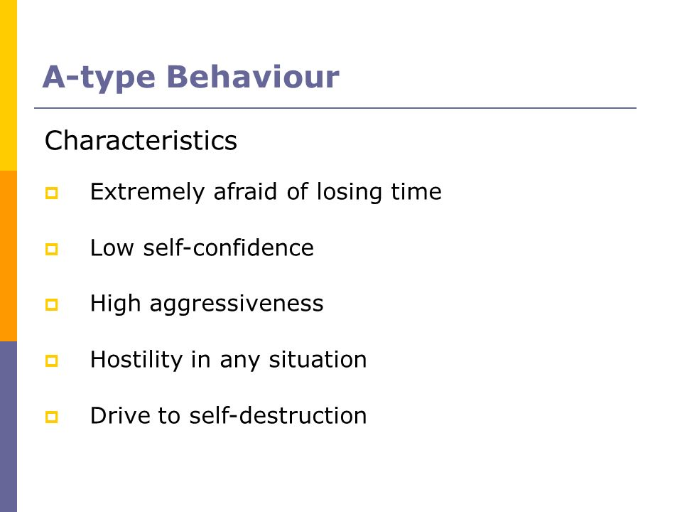 A-type Behaviour Characteristics Extremely afraid of losing time