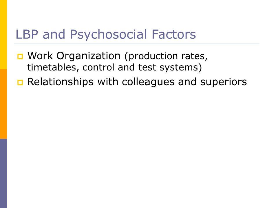 LBP and Psychosocial Factors