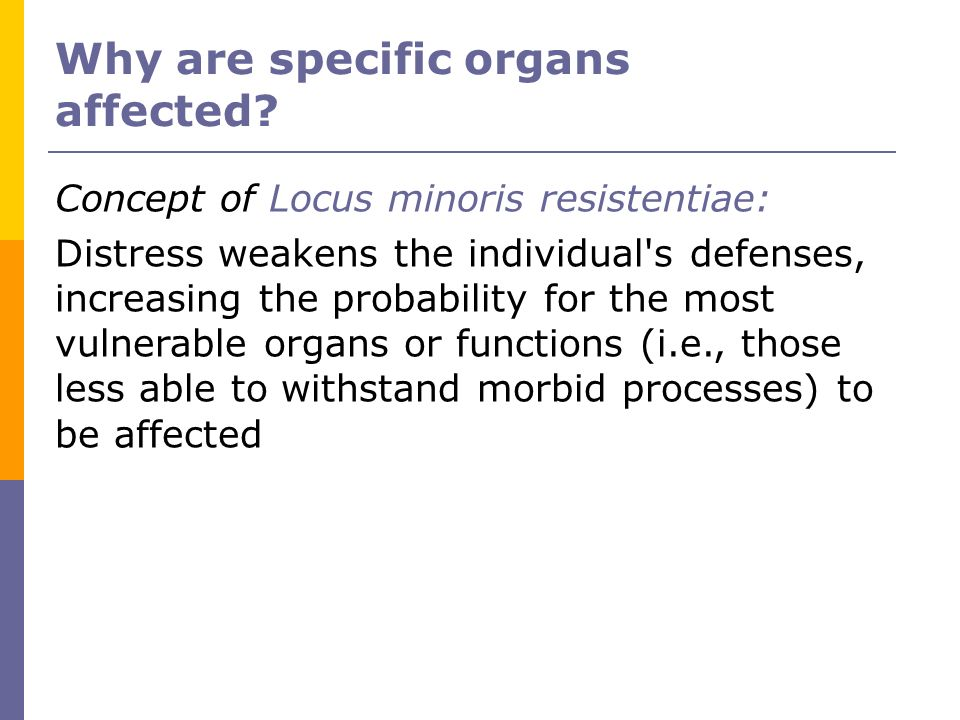 Why are specific organs affected