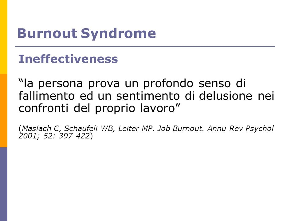 Burnout Syndrome Ineffectiveness