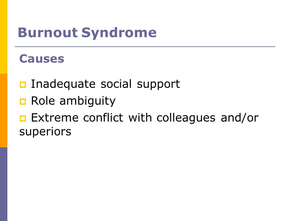 Burnout Syndrome Causes Inadequate social support Role ambiguity
