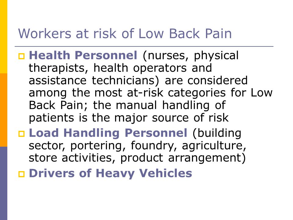 Workers at risk of Low Back Pain