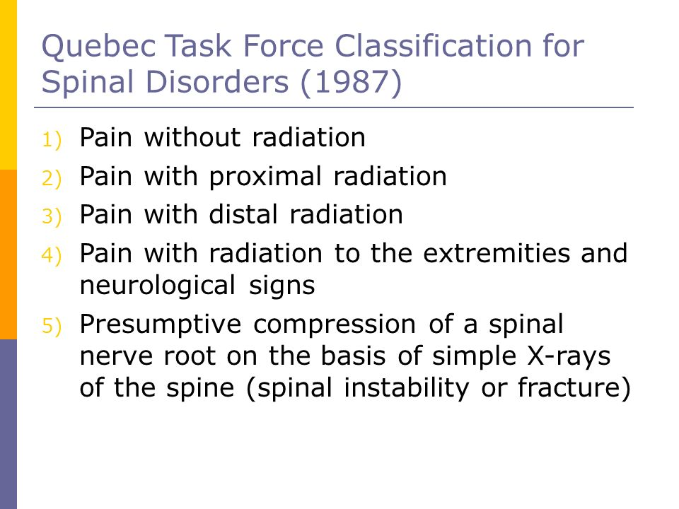 Quebec Task Force Classification for Spinal Disorders (1987)‏