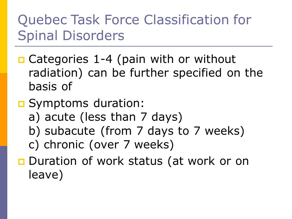 Quebec Task Force Classification for Spinal Disorders