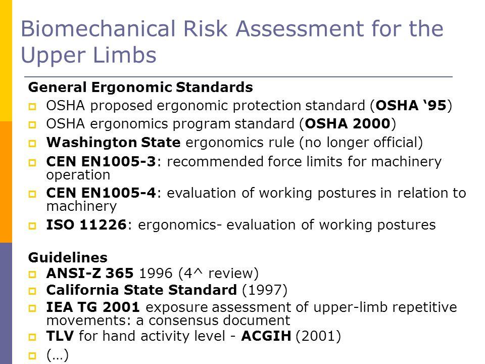 Biomechanical Risk Assessment for the Upper Limbs