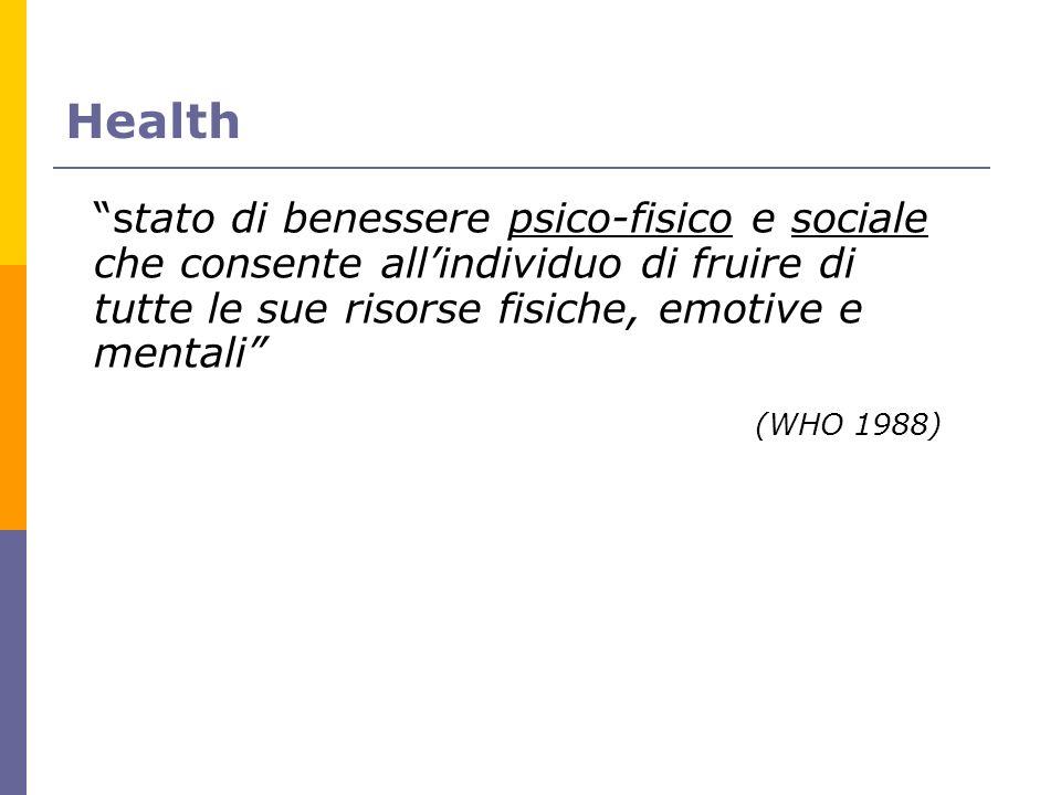 Health stato di benessere psico-fisico e sociale che consente all'individuo di fruire di tutte le sue risorse fisiche, emotive e mentali