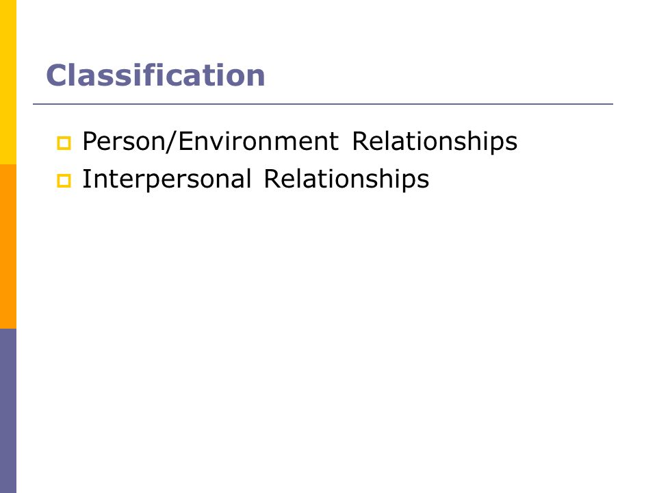 Classification Person/Environment Relationships