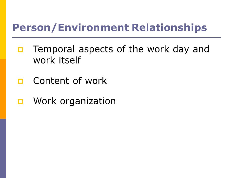 Person/Environment Relationships