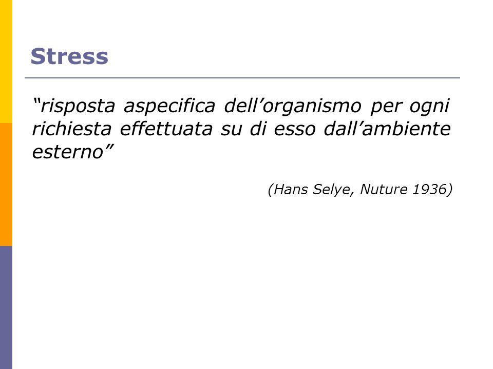 Stress risposta aspecifica dell'organismo per ogni richiesta effettuata su di esso dall'ambiente esterno