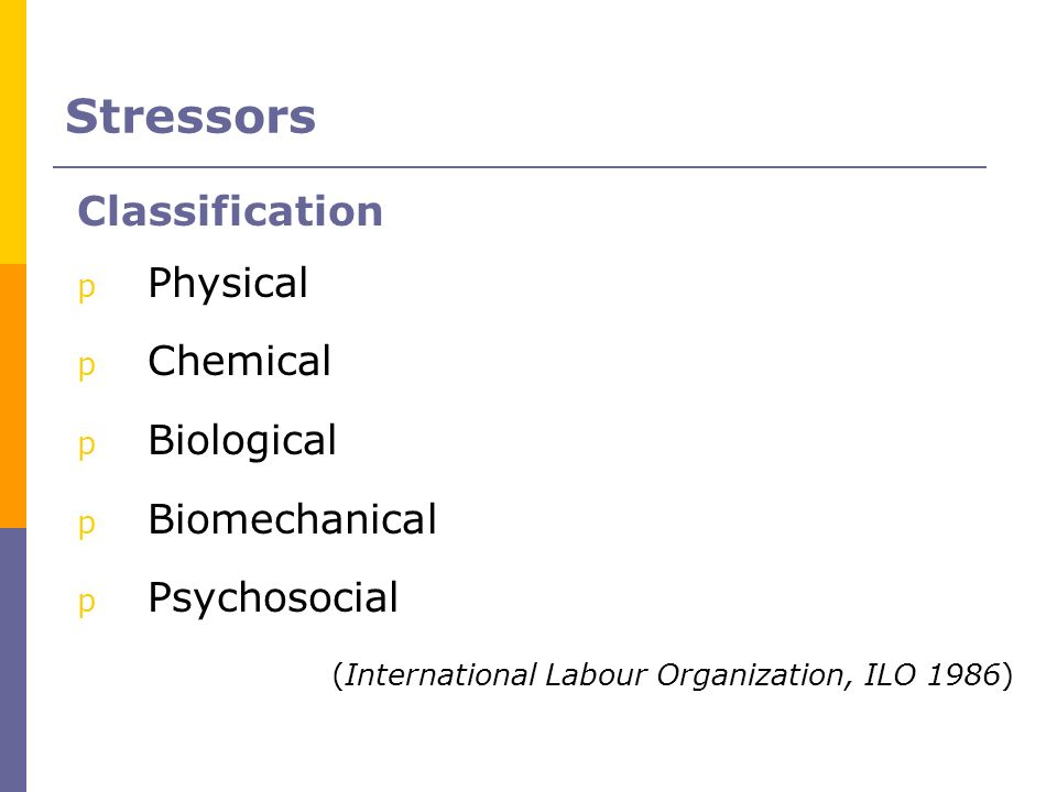 Stressors Classification Physical Chemical Biological Biomechanical