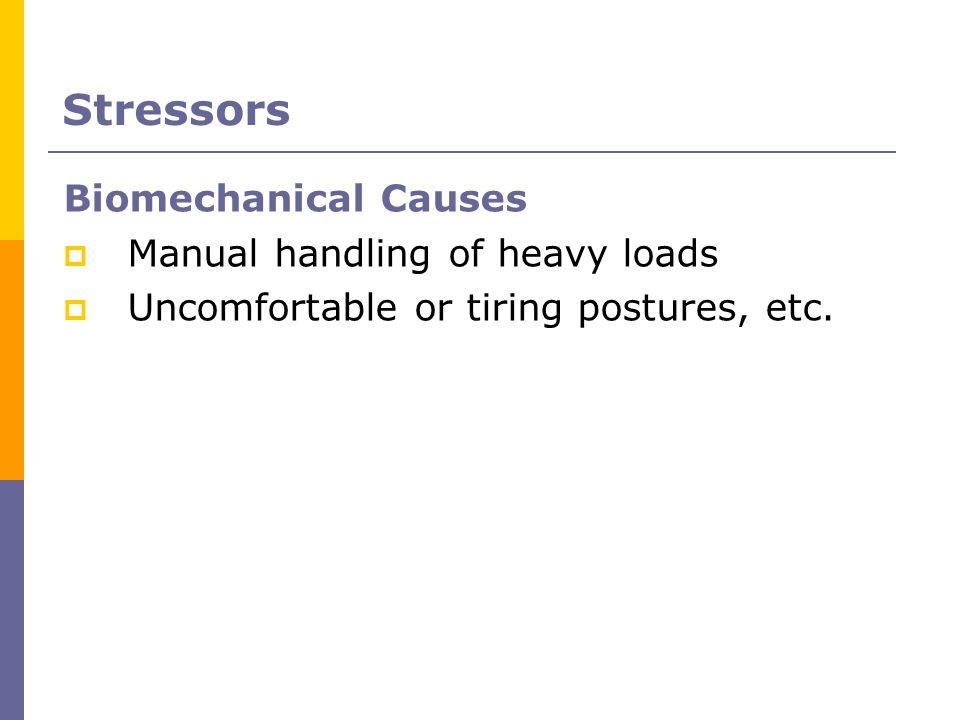 Stressors Biomechanical Causes Manual handling of heavy loads