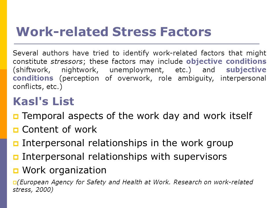 Work-related Stress Factors