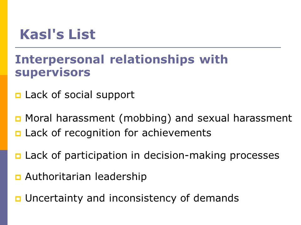Kasl s List Interpersonal relationships with supervisors