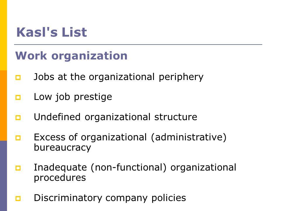Kasl s List Work organization Jobs at the organizational periphery