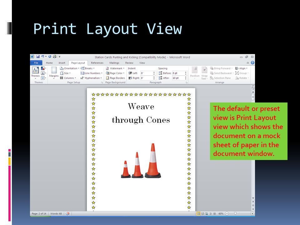 how to change word document to print layout