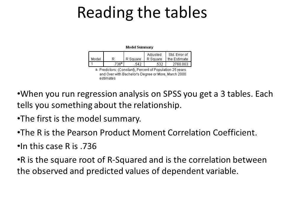 Reading the tables When you run regression analysis on SPSS you get a 3 tables. Each tells you something about the relationship.