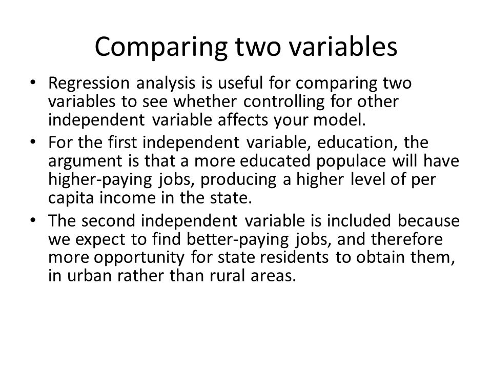 Comparing two variables