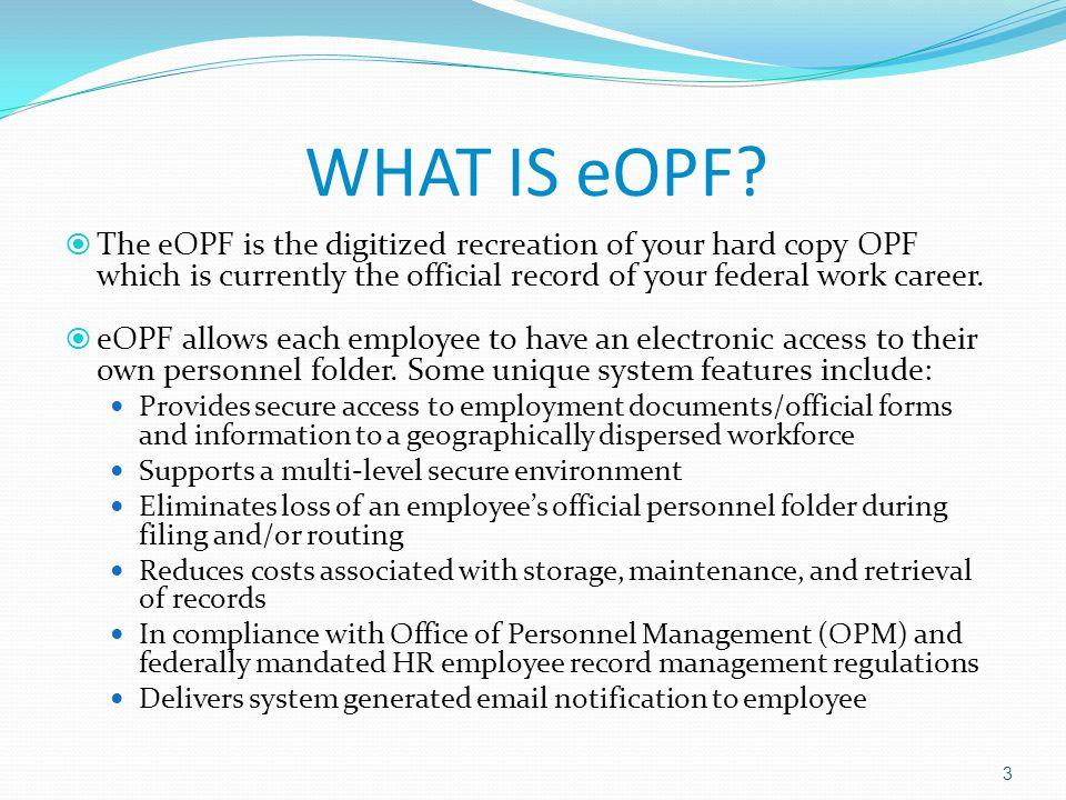 Welcome To Electronic Official Personnel Folder Eopf For