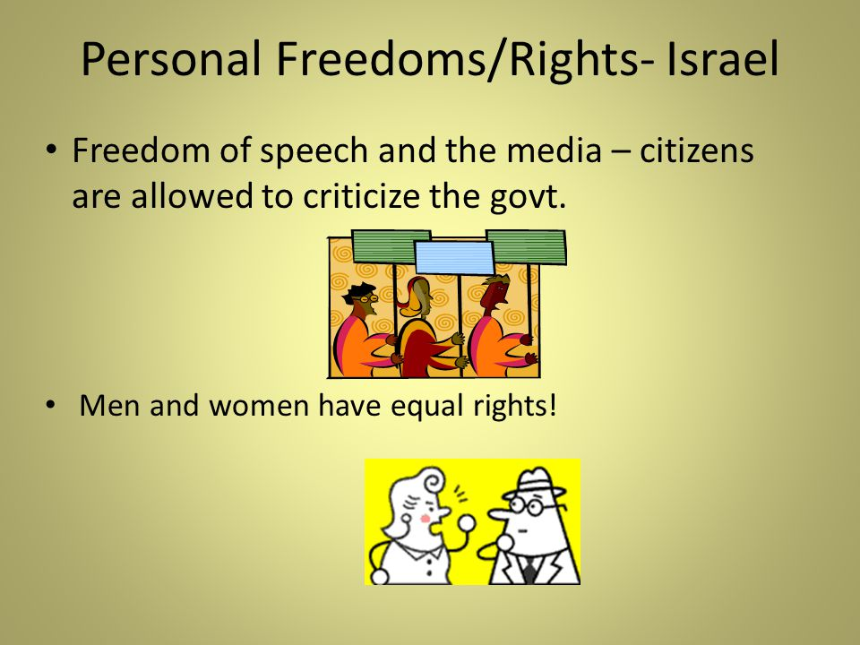 Personal Freedoms/Rights- Israel