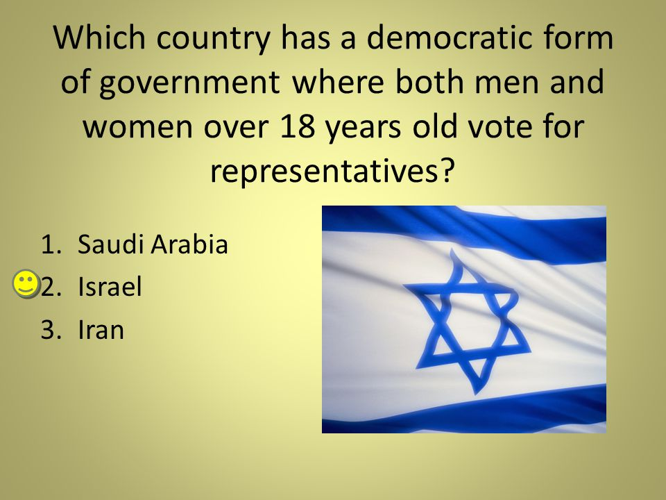 Which country has a democratic form of government where both men and women over 18 years old vote for representatives