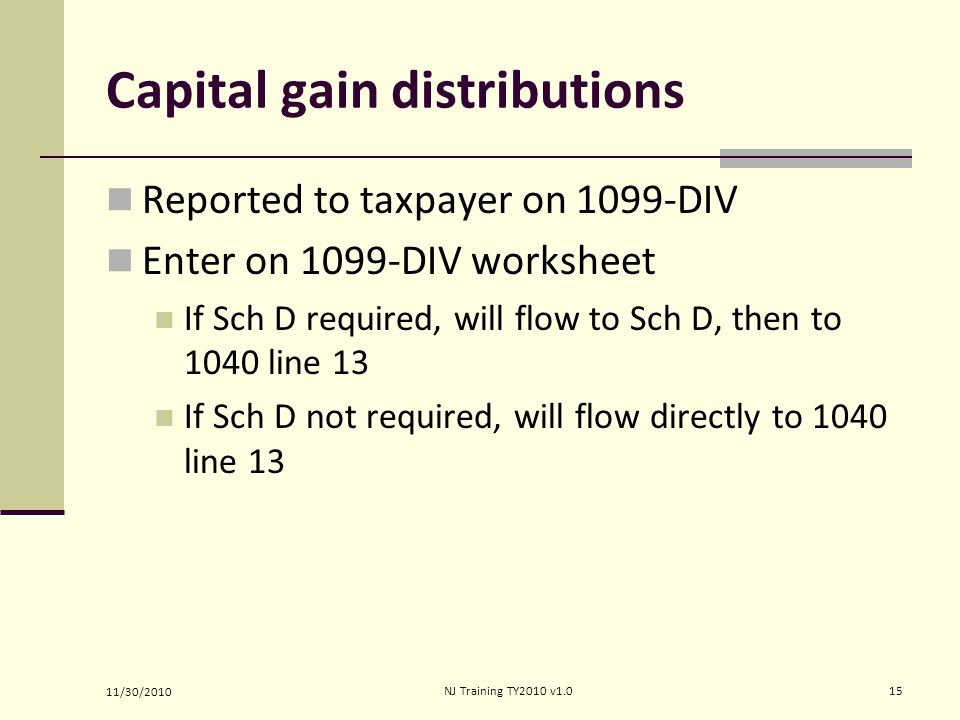 Income Capital Gain or Loss ppt download – 1099 Worksheet