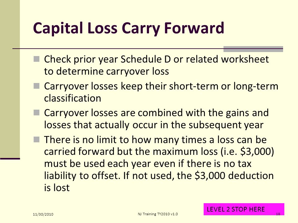 Income Capital Gain or Loss ppt video online download – Capital Loss Carryover Worksheet