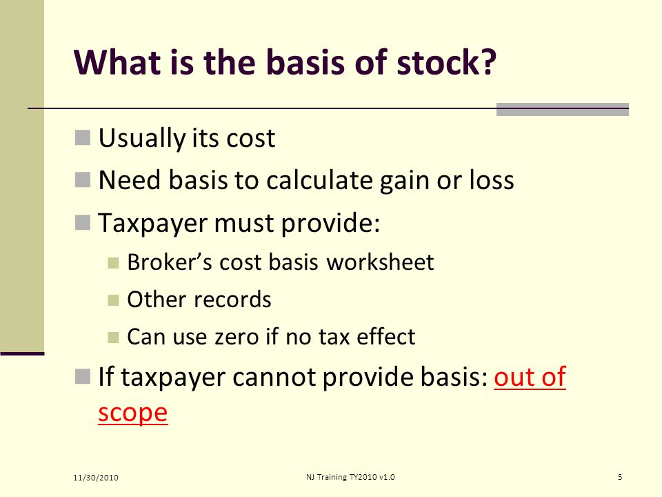Calculating cost basis for stock options
