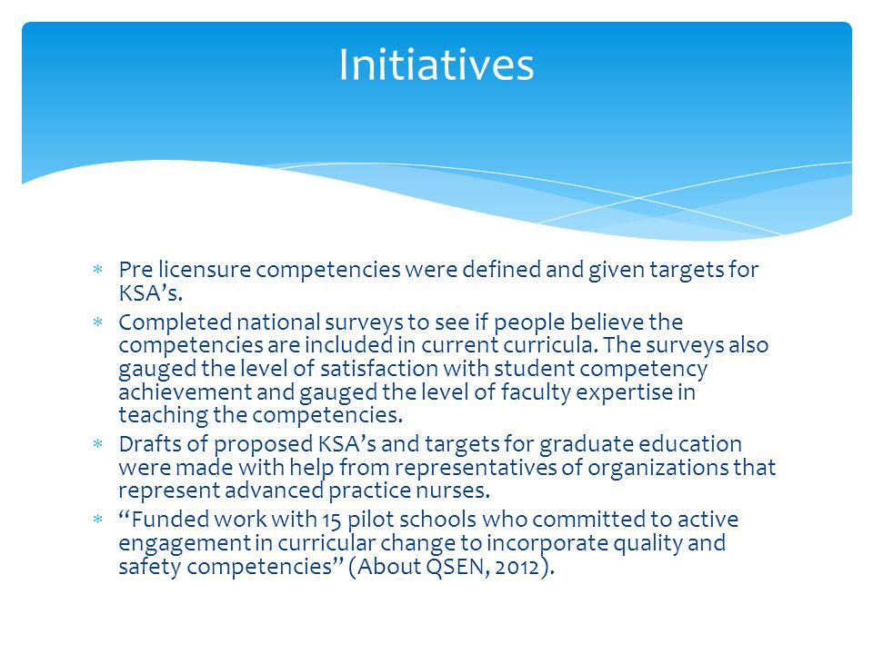 qsen ksas competencies Quality and safety education for nurses (qsen) assignment • the purpose of this assignment is to identify a problem in the clinical area and to utilize evidence.