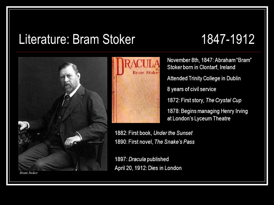 a literary analysis of the novel dracula by bram stoker Bram stoker's 1897 novel, dracula, remains the most influential vampire story ever written in spite of a few victorian conceits that date the novel, it is still one of the greatest horror.
