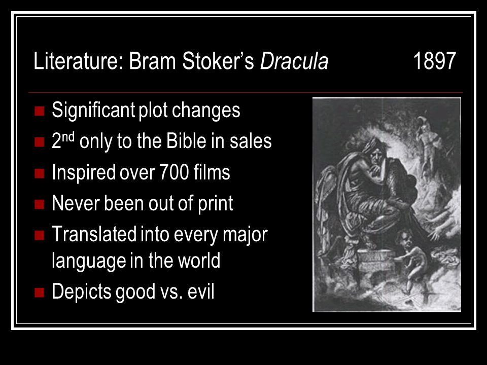 a literary analysis of dracula by bram stoker Bram stoker's 1897 novel, dracula, remains the most influential vampire story ever written in spite of a few victorian conceits that date the novel, it is still one of the greatest horror novels ever published.