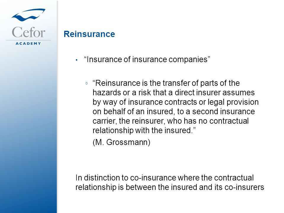 relationship between insurer and reinsurer