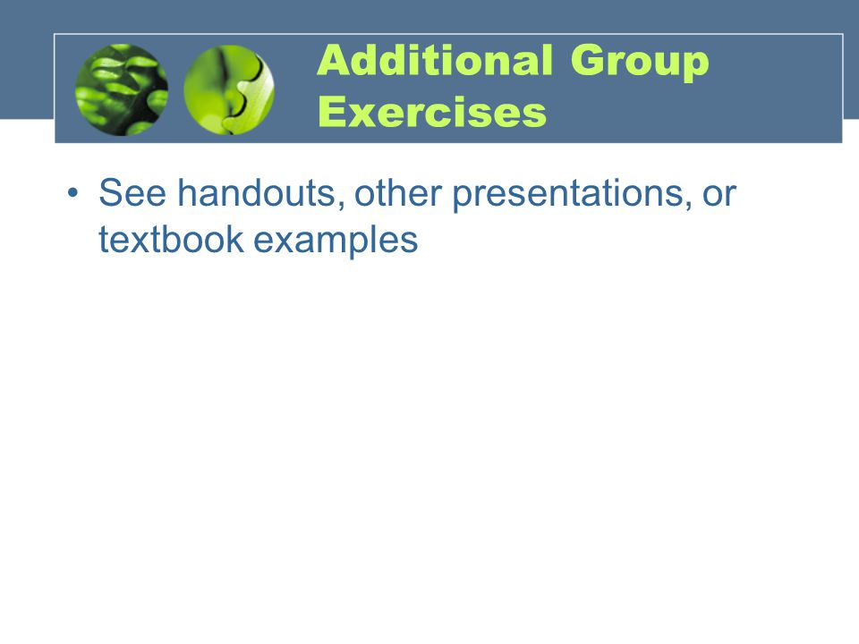 Additional Group Exercises