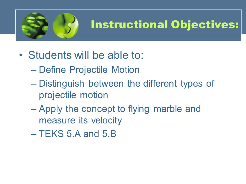 Instructional Objectives: