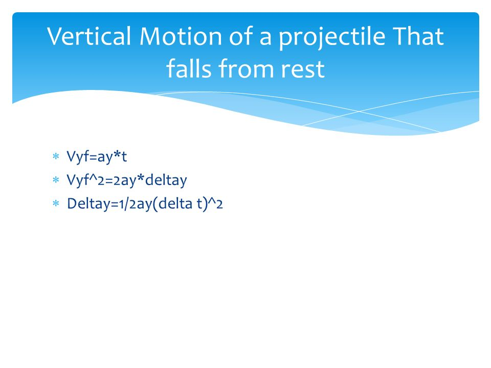 Vertical Motion of a projectile That falls from rest