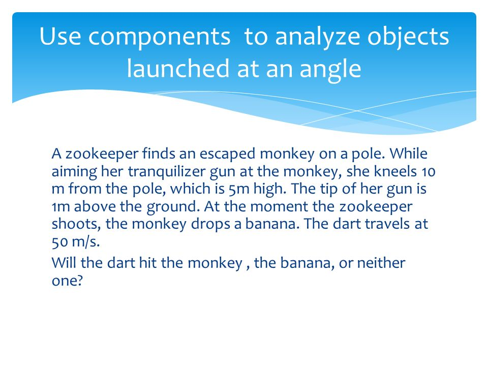 Use components to analyze objects launched at an angle