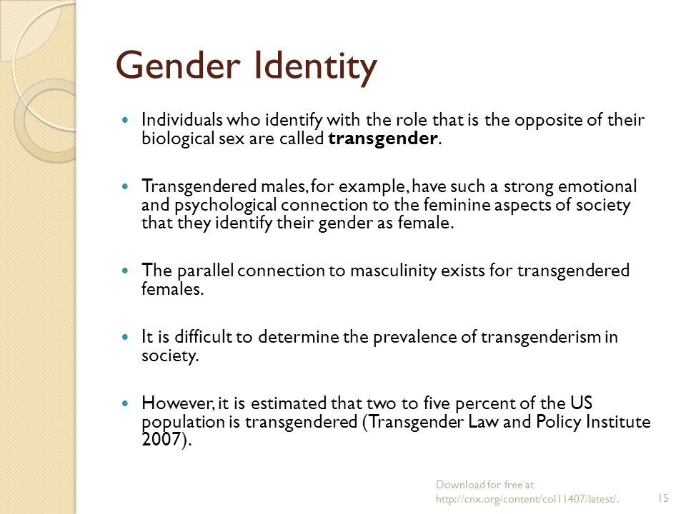 transgender and psychological social gender identity Transgender people may be seeking mental health care for a number reasons in addition to mental health issues relating to or resulting from one's gender identity, transgender people do experience the background rates of mood disorders and other psychiatric conditions seen in the general population.