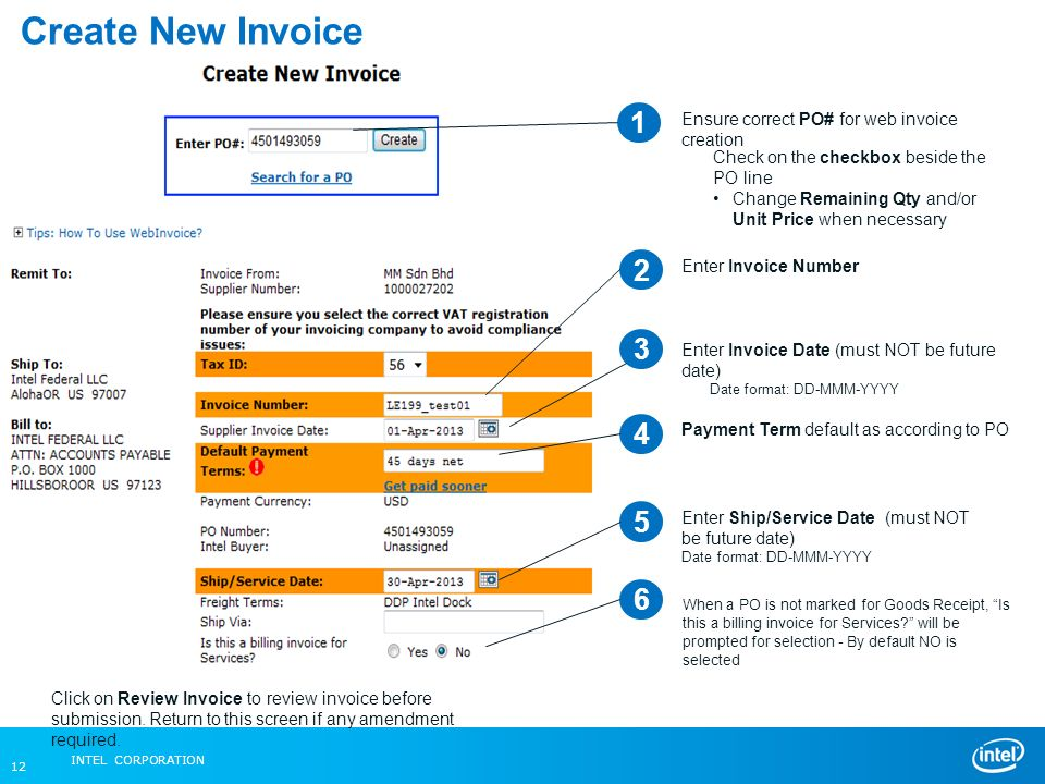 Intel Federal LLC Web Invoice Ppt Video Online Download - Make an invoice in word tobacco online store