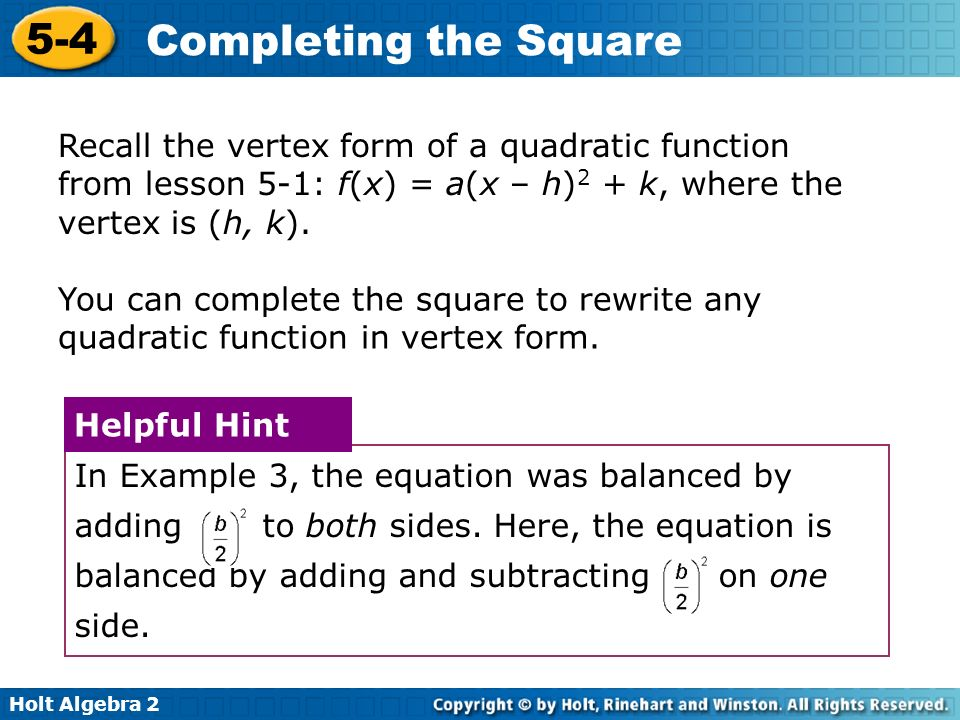 5-4 Completing the Square Warm Up Lesson Presentation ...